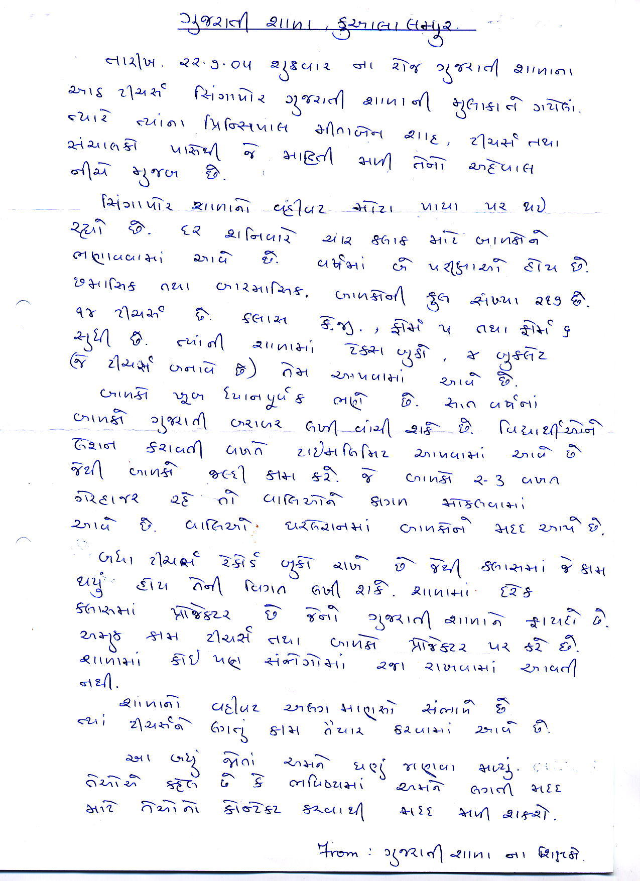 gujarati s of welcome you all all the teachers jointly prepared a summary of their experience and observation made during their trip